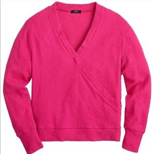 NWT j. Crew Hot Pink Faux Wrap Top